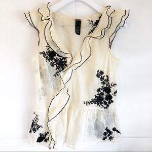 Lithe | Piazza Peony Embroidered Cream Top Size 10